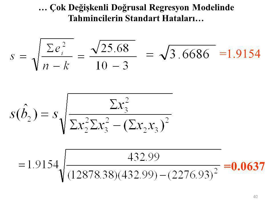 … Çok Değişkenli Doğrusal Regresyon Modelinde Tahmincilerin Standart Hataları…