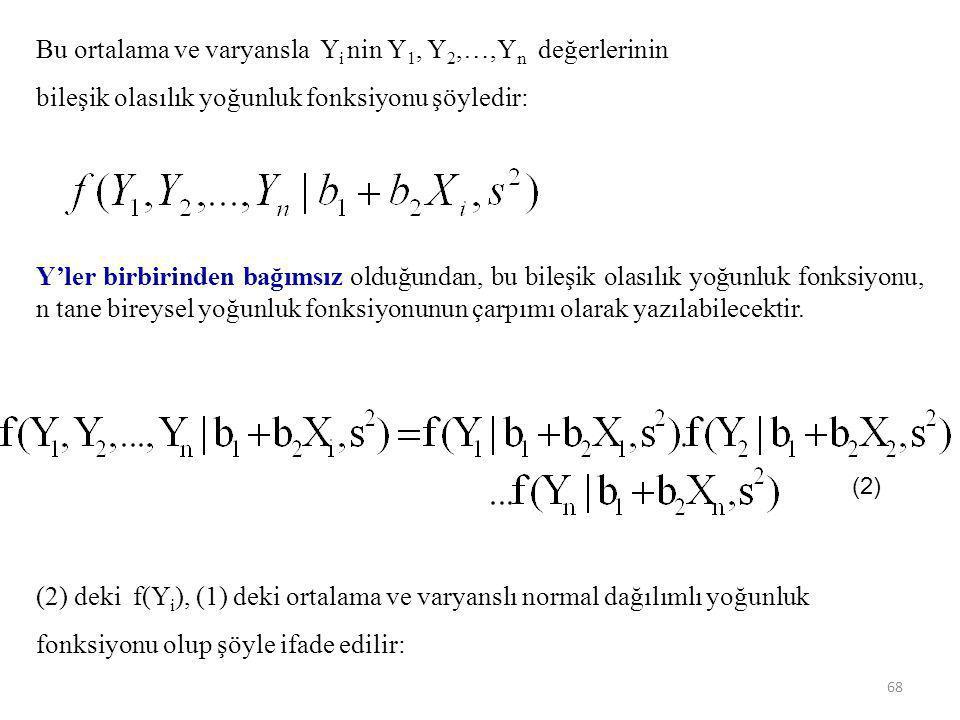 Bu ortalama ve varyansla Yi nin Y1, Y2,…,Yn değerlerinin