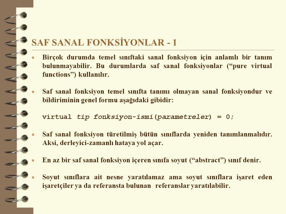 SAF SANAL FONKSİYONLAR - 1