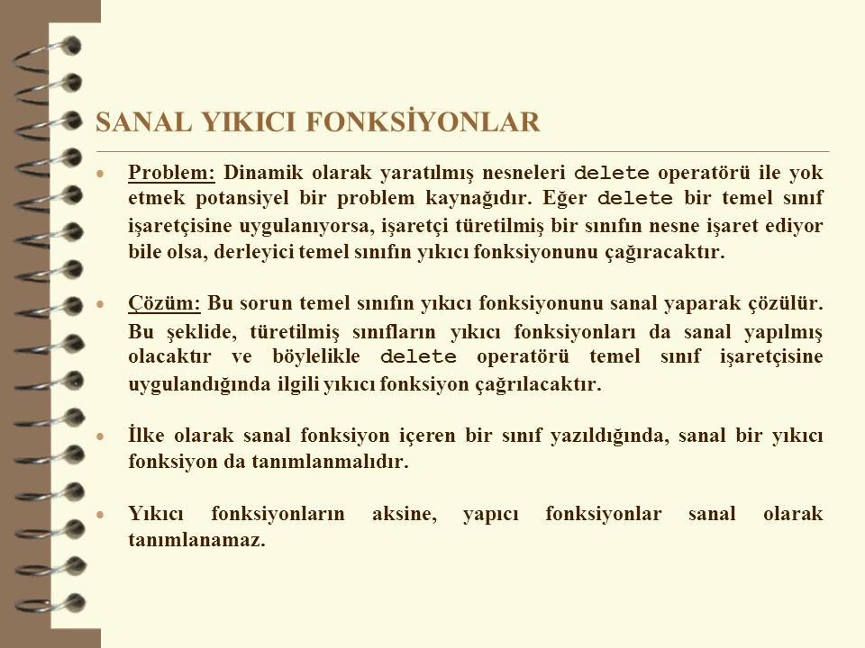 SANAL YIKICI FONKSİYONLAR