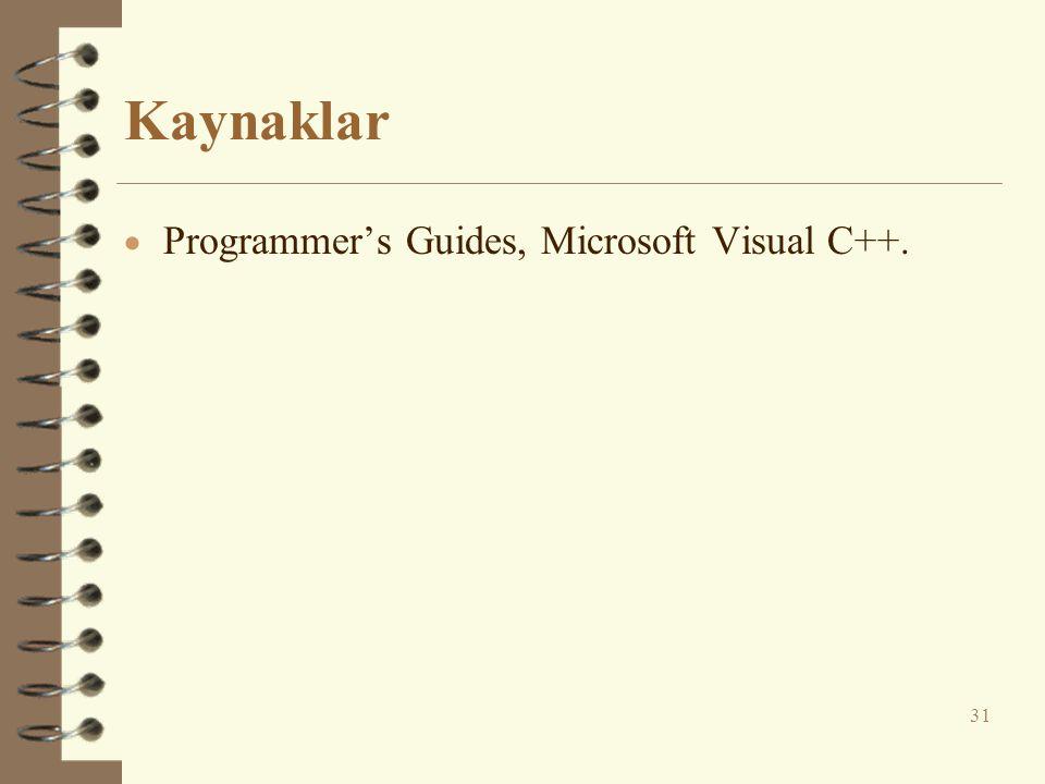 Kaynaklar Programmer's Guides, Microsoft Visual C++.