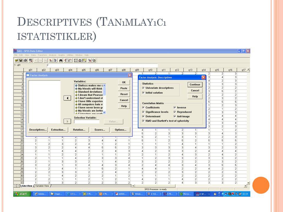 Descriptives (Tanımlayıcı istatistikler)