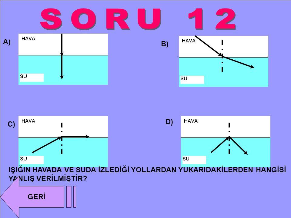 SORU 12 A) B) D) C) IŞIĞIN HAVADA VE SUDA İZLEDİĞİ YOLLARDAN YUKARIDAKİLERDEN HANGİSİ YANLIŞ VERİLMİŞTİR