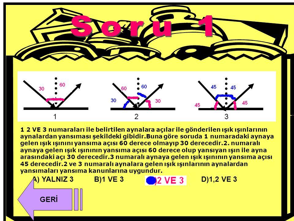 Soru 1 1 2 3 A) YALNIZ 3 B)1 VE 3 D)1,2 VE 3 GERİ