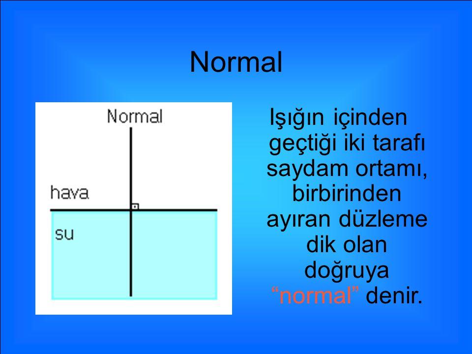 Normal Işığın içinden geçtiği iki tarafı saydam ortamı, birbirinden ayıran düzleme dik olan doğruya normal denir.
