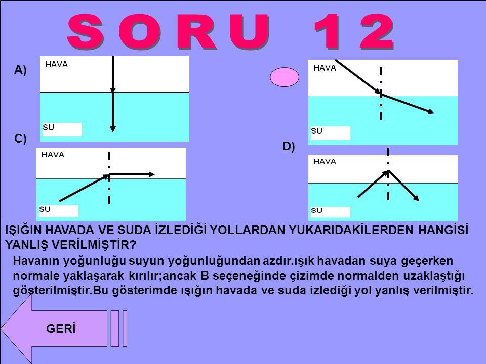 SORU 12 A) B) C) D) IŞIĞIN HAVADA VE SUDA İZLEDİĞİ YOLLARDAN YUKARIDAKİLERDEN HANGİSİ YANLIŞ VERİLMİŞTİR