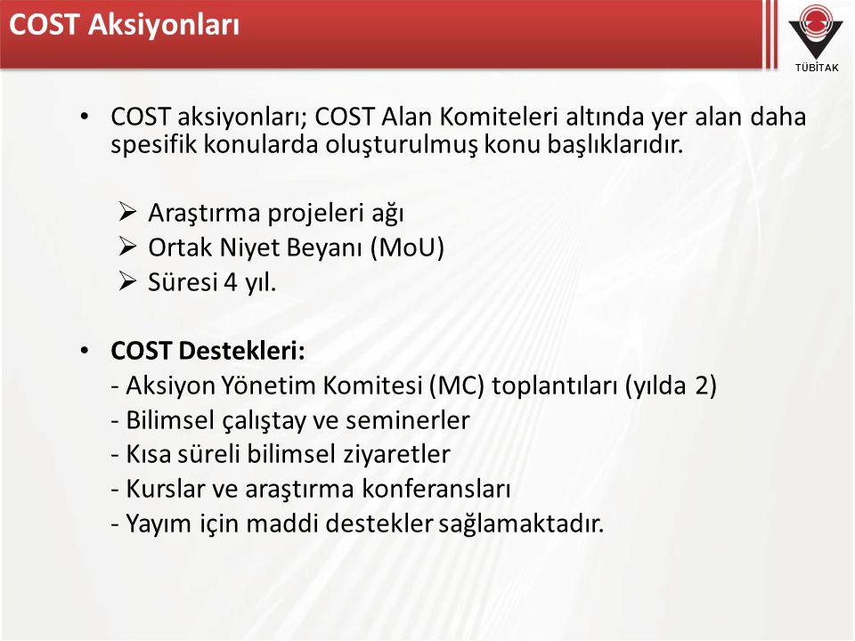 COST Aksiyonları COST aksiyonları; COST Alan Komiteleri altında yer alan daha spesifik konularda oluşturulmuş konu başlıklarıdır.