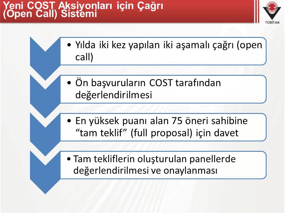 Yeni COST Aksiyonları için Çağrı (Open Call) Sistemi