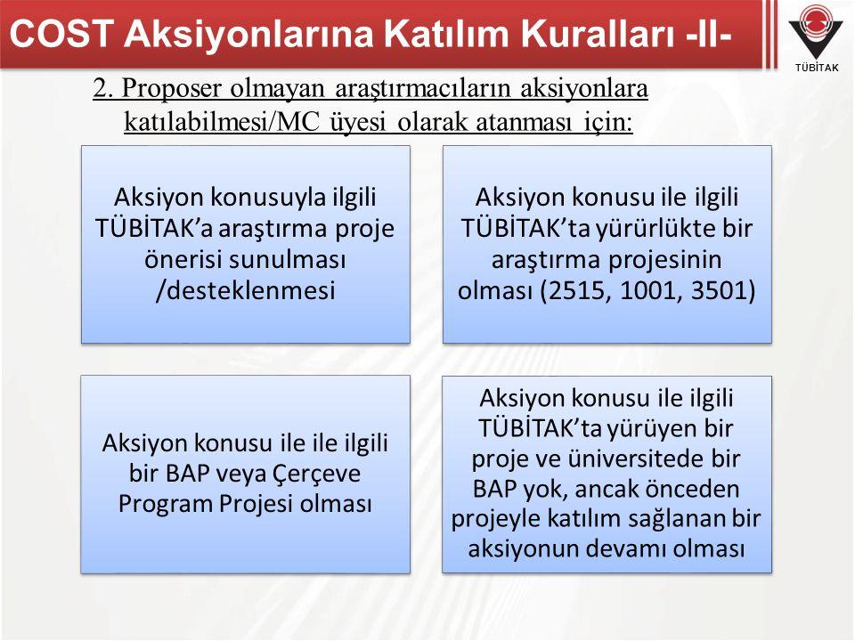 COST Aksiyonlarına Katılım Kuralları -II-