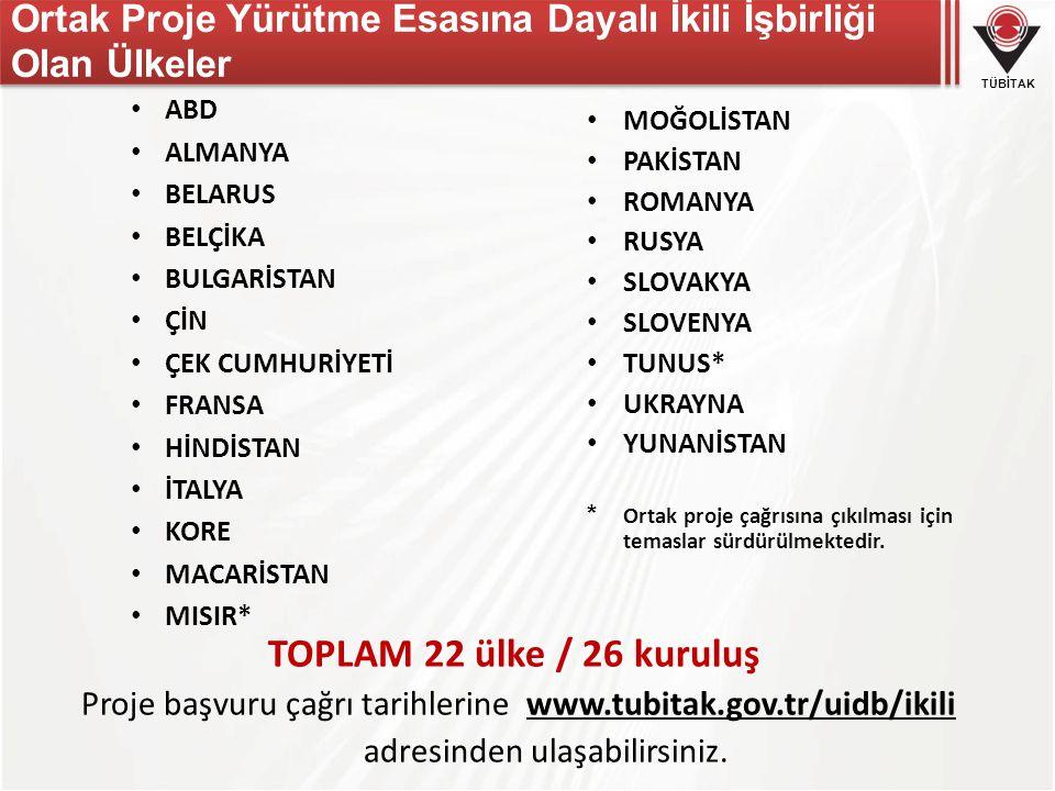 Ortak Proje Yürütme Esasına Dayalı İkili İşbirliği Olan Ülkeler