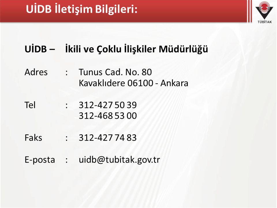 UİDB İletişim Bilgileri: