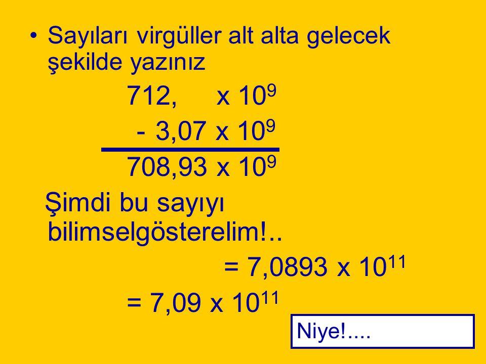 Şimdi bu sayıyı bilimselgösterelim!.. = 7,0893 x 1011 = 7,09 x 1011