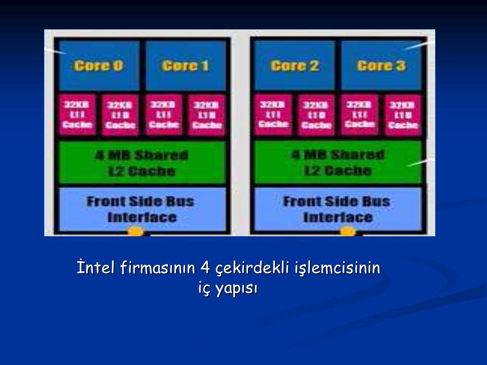 İntel firmasının 4 çekirdekli işlemcisinin iç yapısı