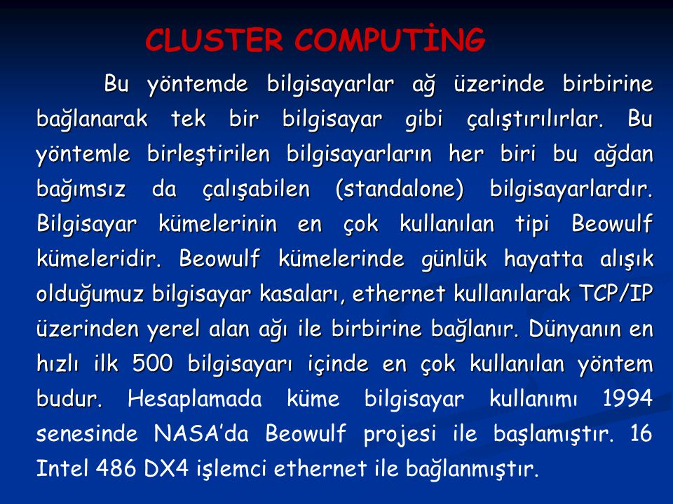 CLUSTER COMPUTİNG