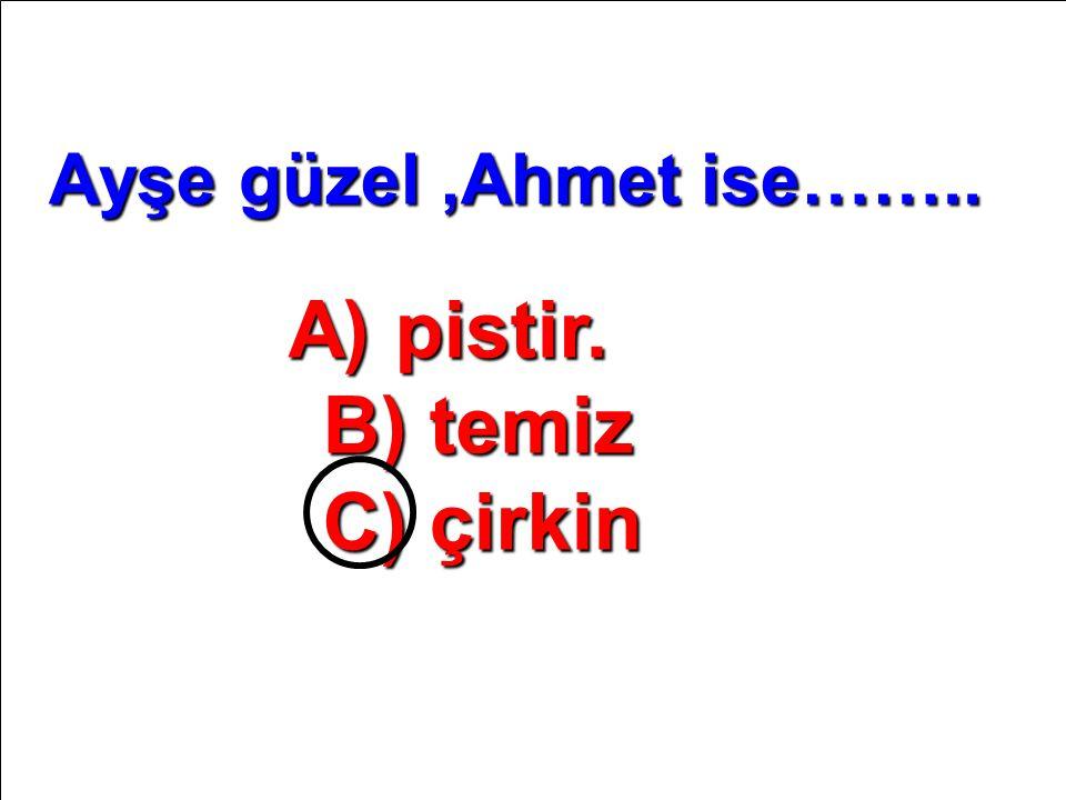 A) pistir. B) temiz C) çirkin