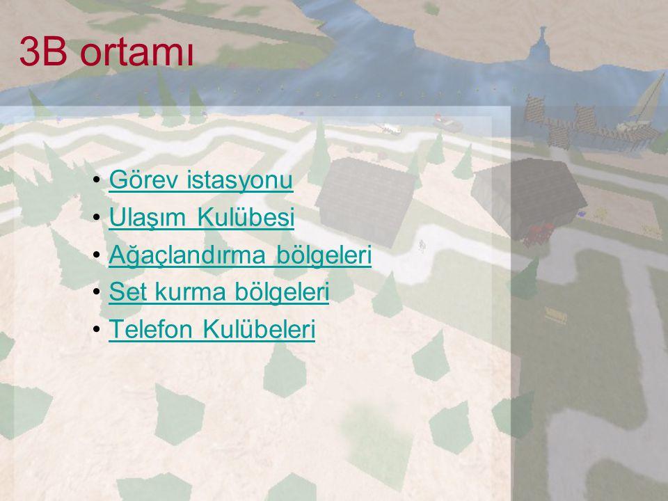 3B ortamı Görev istasyonu Ulaşım Kulübesi Ağaçlandırma bölgeleri