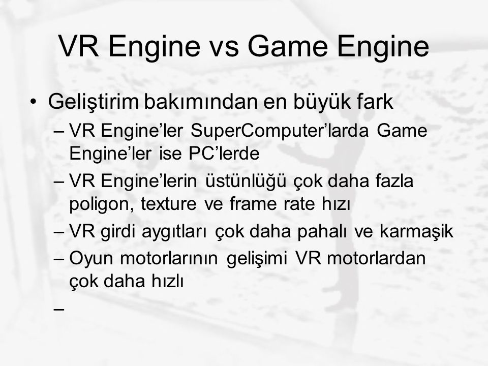 VR Engine vs Game Engine