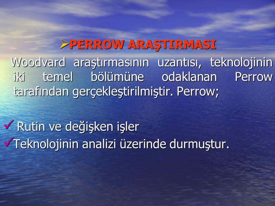 PERROW ARAŞTIRMASI Woodvard araştırmasının uzantısı, teknolojinin iki temel bölümüne odaklanan Perrow tarafından gerçekleştirilmiştir. Perrow;