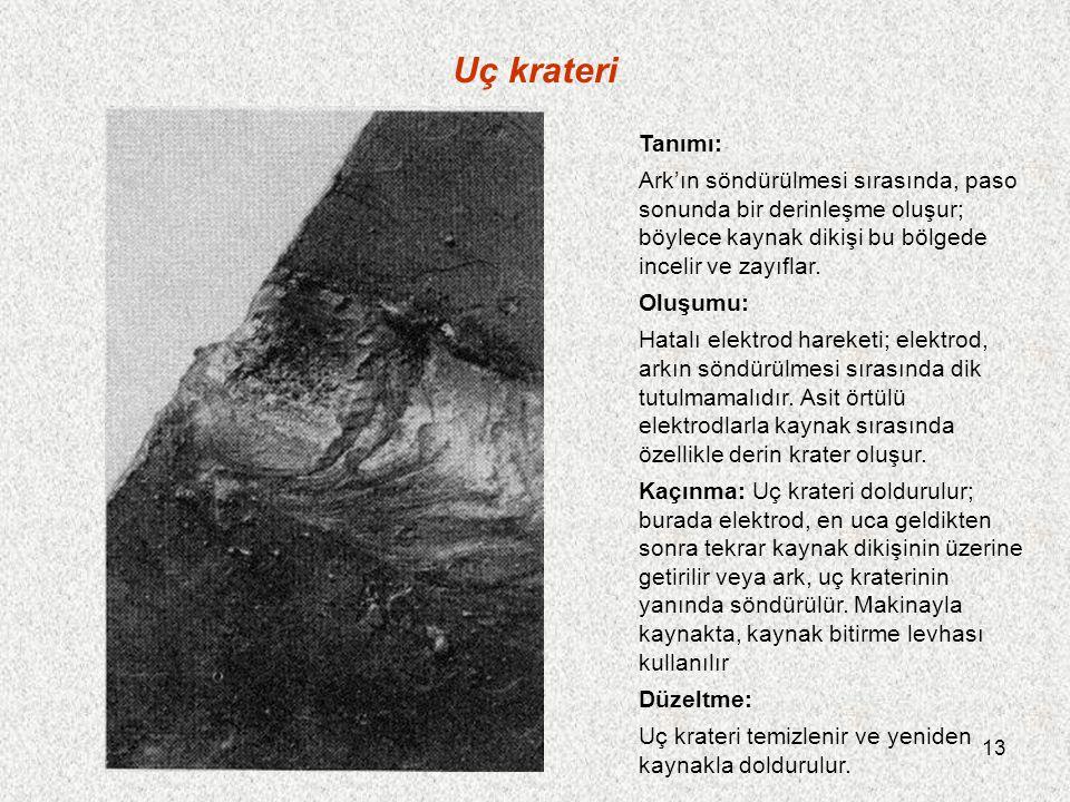 Uç krateri Tanımı: Ark'ın söndürülmesi sırasında, paso sonunda bir derinleşme oluşur; böylece kaynak dikişi bu bölgede incelir ve zayıflar.