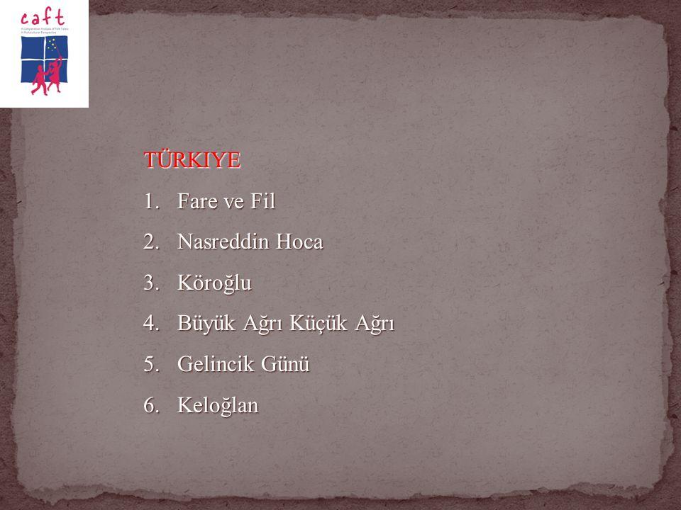 TÜRKIYE Fare ve Fil Nasreddin Hoca Köroğlu Büyük Ağrı Küçük Ağrı Gelincik Günü Keloğlan
