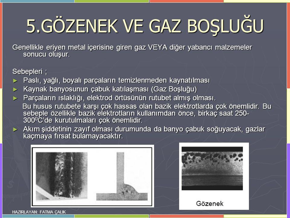 5.GÖZENEK VE GAZ BOŞLUĞU Genellikle eriyen metal içerisine giren gaz VEYA diğer yabancı malzemeler sonucu oluşur.