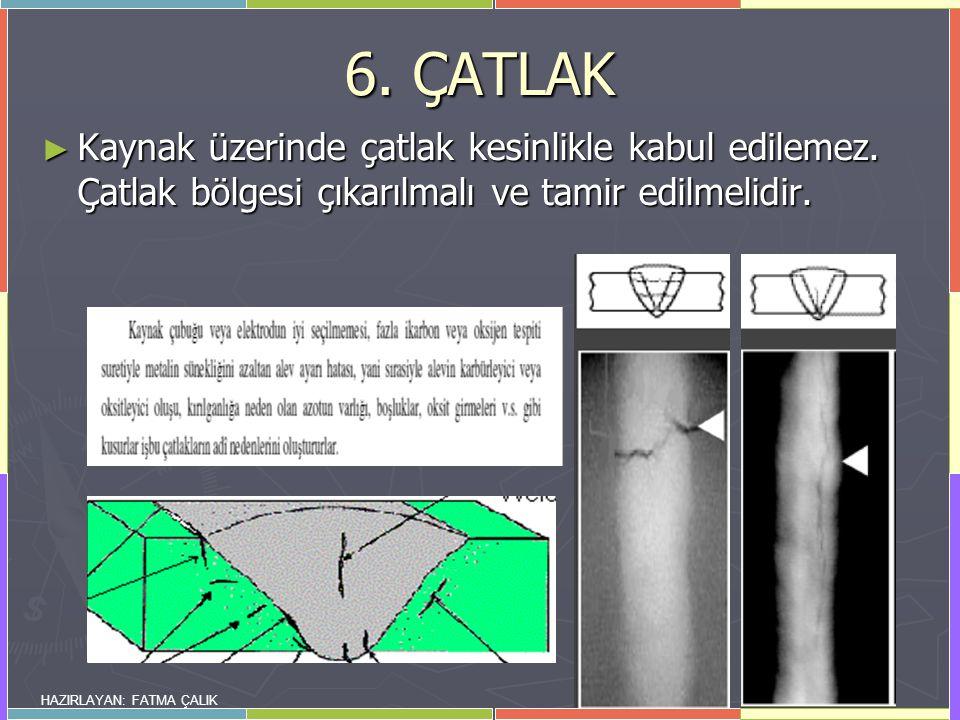 6. ÇATLAK Kaynak üzerinde çatlak kesinlikle kabul edilemez. Çatlak bölgesi çıkarılmalı ve tamir edilmelidir.