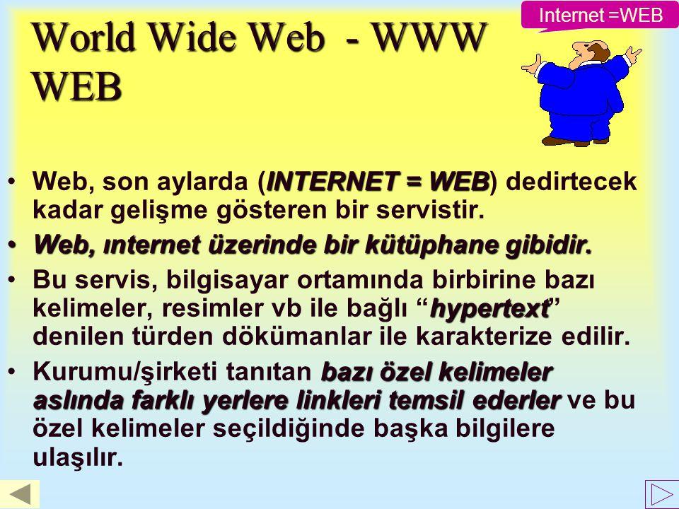 Internet =WEB World Wide Web - WWW WEB. Web, son aylarda (INTERNET = WEB) dedirtecek kadar gelişme gösteren bir servistir.