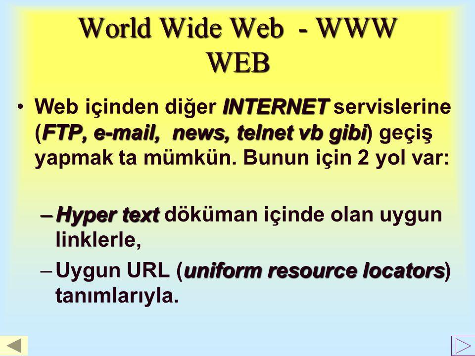 World Wide Web - WWW WEB Web içinden diğer INTERNET servislerine (FTP, e-mail, news, telnet vb gibi) geçiş yapmak ta mümkün. Bunun için 2 yol var: