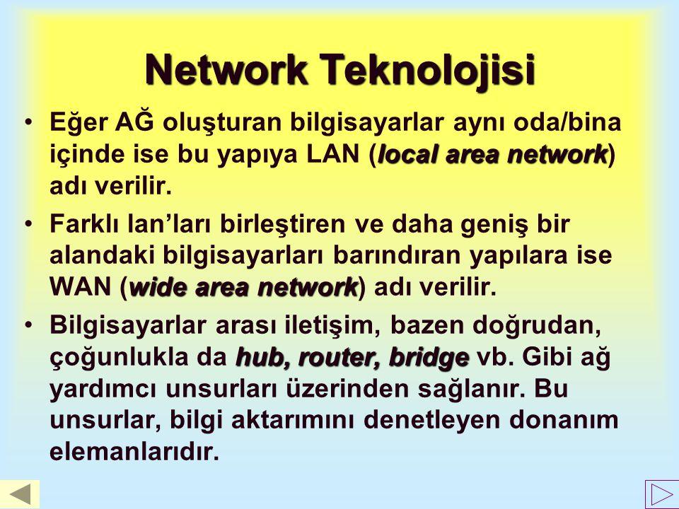 Network Teknolojisi Eğer AĞ oluşturan bilgisayarlar aynı oda/bina içinde ise bu yapıya LAN (local area network) adı verilir.
