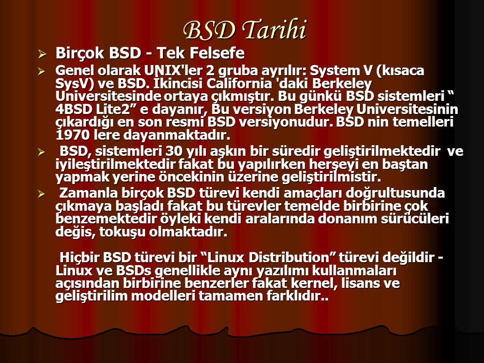 BSD Tarihi Birçok BSD - Tek Felsefe