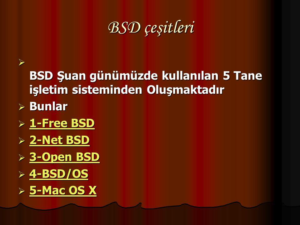 BSD çeşitleri BSD Şuan günümüzde kullanılan 5 Tane işletim sisteminden Oluşmaktadır. Bunlar. 1-Free BSD.