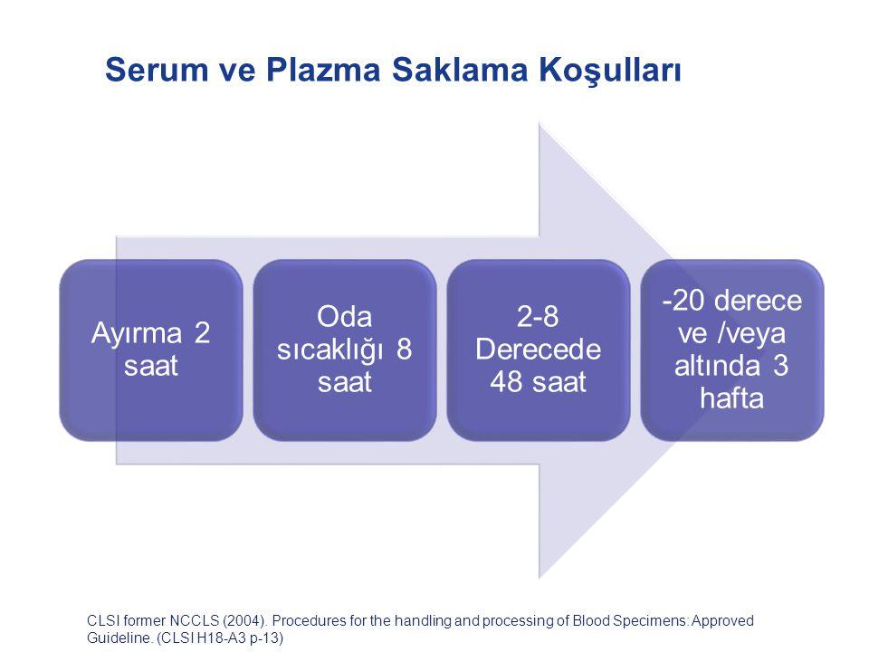Serum ve Plazma Saklama Koşulları