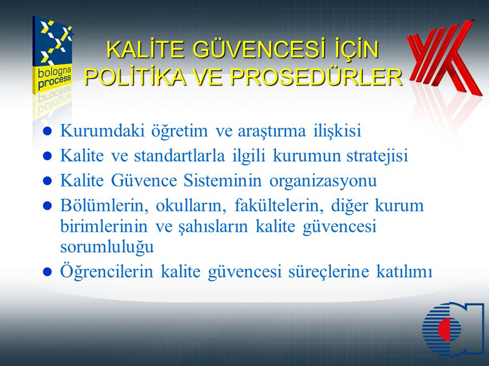 KALİTE GÜVENCESİ İÇİN POLİTİKA VE PROSEDÜRLER