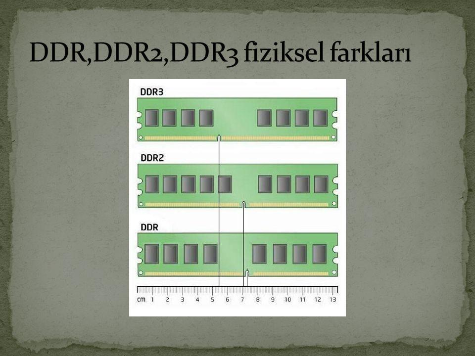 DDR,DDR2,DDR3 fiziksel farkları