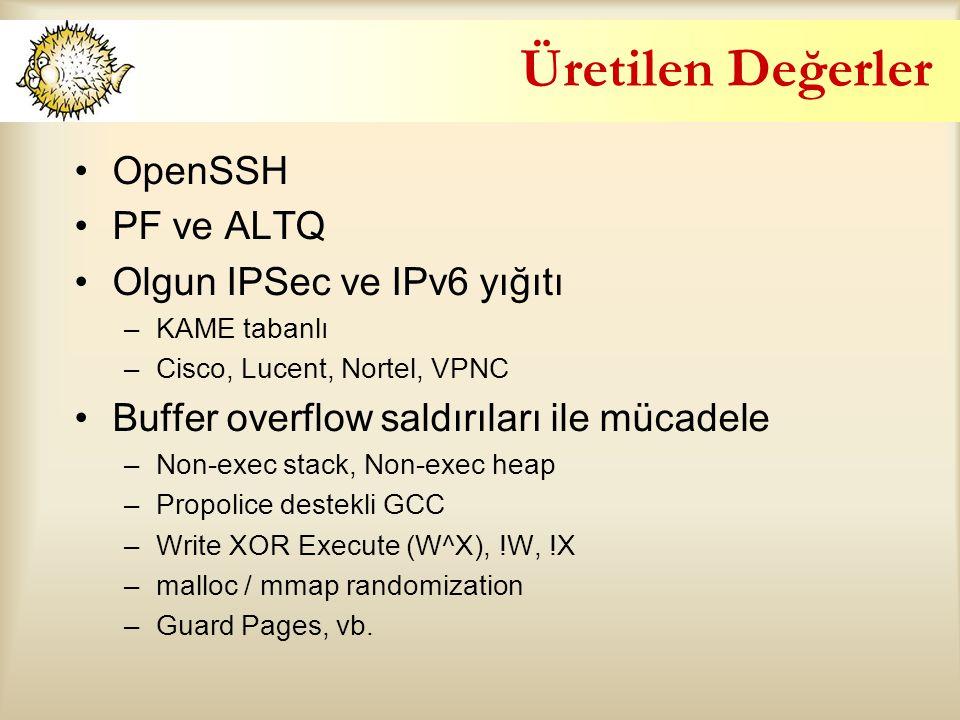 Üretilen Değerler OpenSSH PF ve ALTQ Olgun IPSec ve IPv6 yığıtı