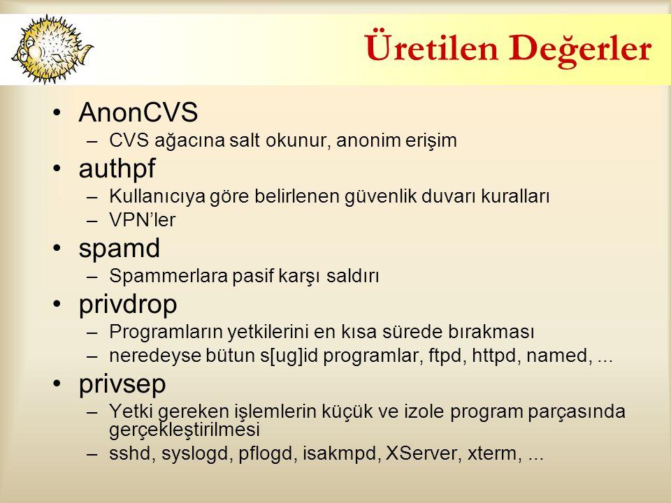 Üretilen Değerler AnonCVS authpf spamd privdrop privsep