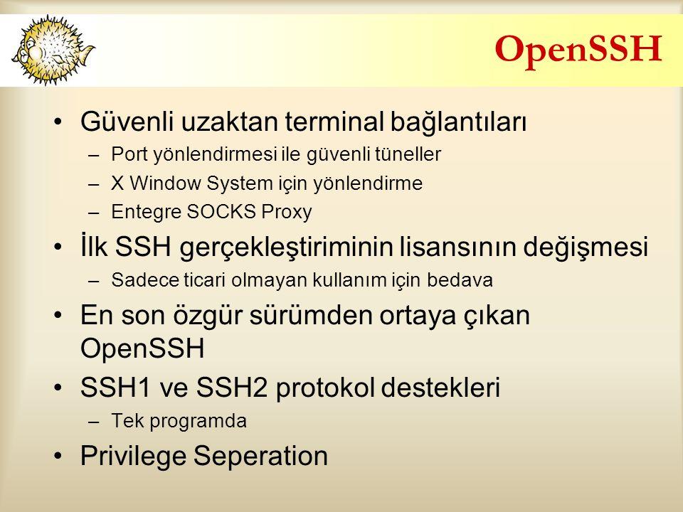 OpenSSH Güvenli uzaktan terminal bağlantıları
