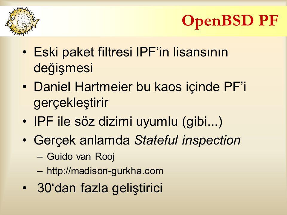 OpenBSD PF Eski paket filtresi IPF'in lisansının değişmesi