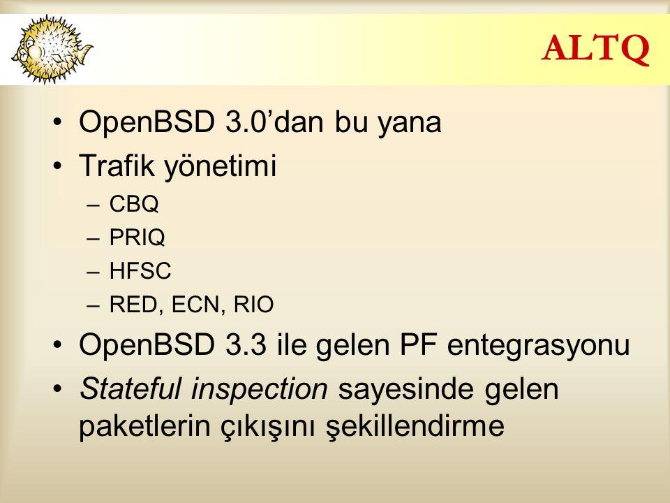ALTQ OpenBSD 3.0'dan bu yana Trafik yönetimi