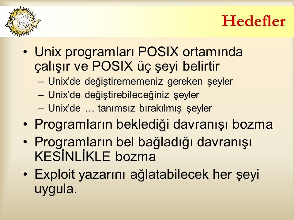 Hedefler Unix programları POSIX ortamında çalışır ve POSIX üç şeyi belirtir. Unix'de değiştirememeniz gereken şeyler.