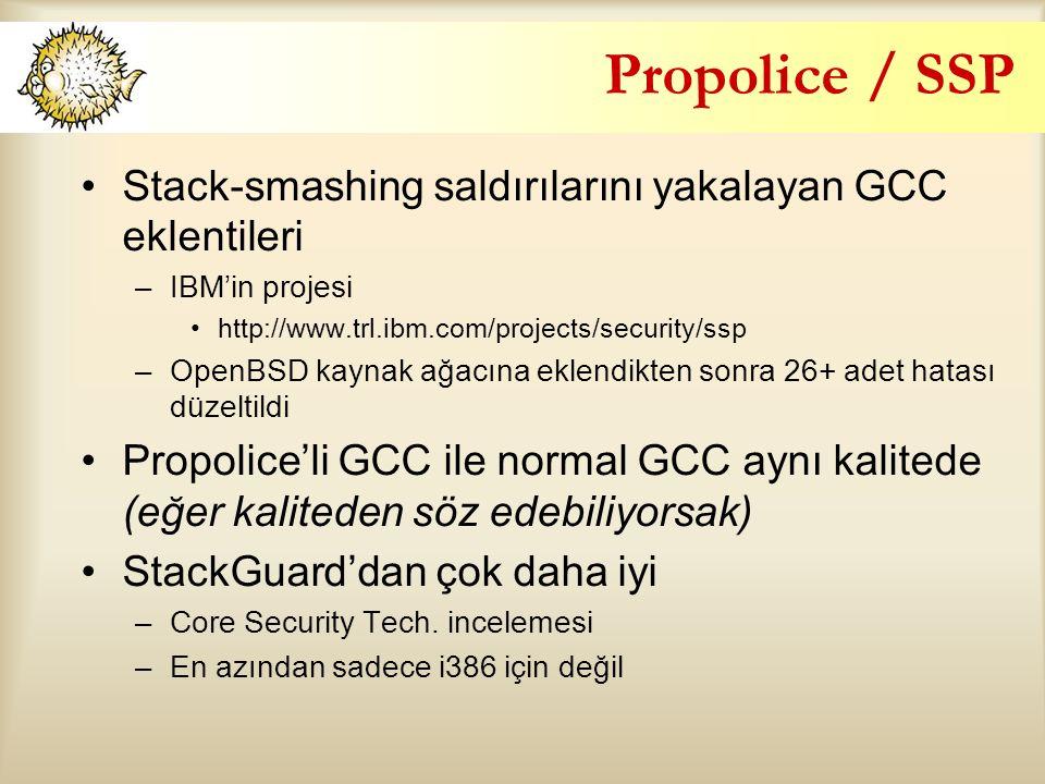 Propolice / SSP Stack-smashing saldırılarını yakalayan GCC eklentileri