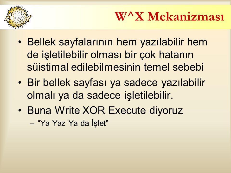 W^X Mekanizması Bellek sayfalarının hem yazılabilir hem de işletilebilir olması bir çok hatanın süistimal edilebilmesinin temel sebebi.