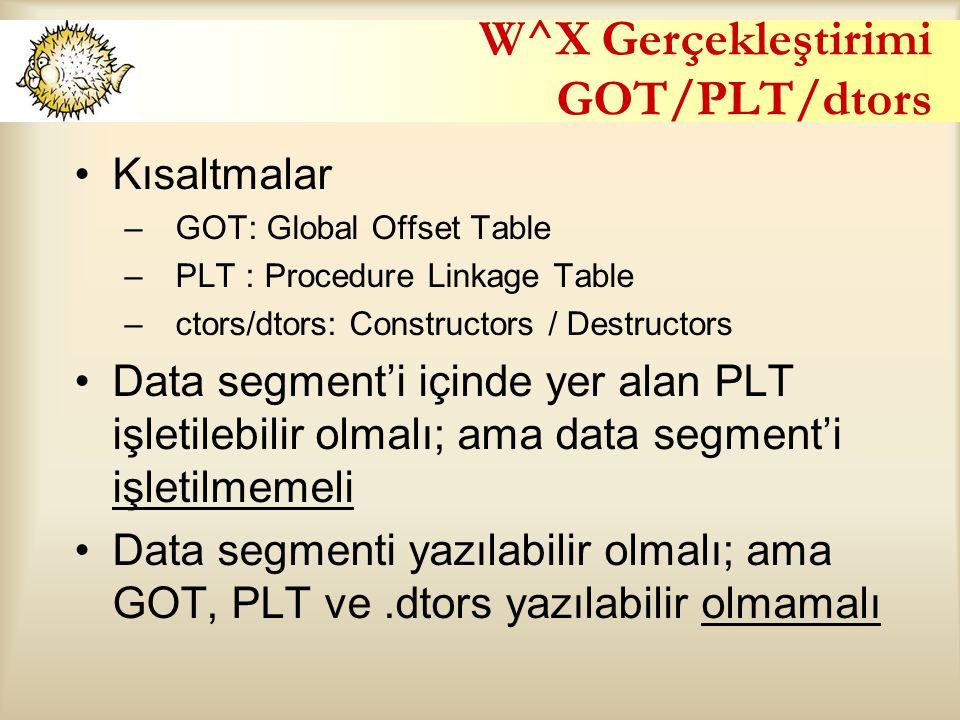 W^X Gerçekleştirimi GOT/PLT/dtors