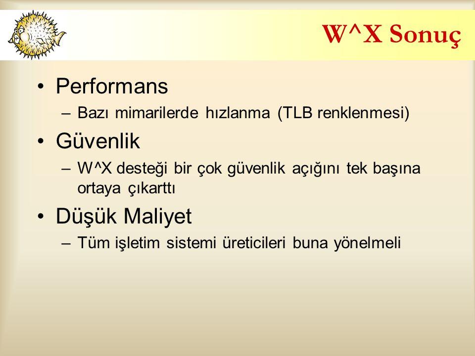 W^X Sonuç Performans Güvenlik Düşük Maliyet