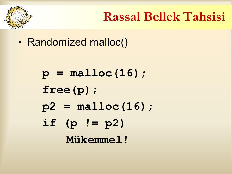 Rassal Bellek Tahsisi p = malloc(16); free(p); p2 = malloc(16);