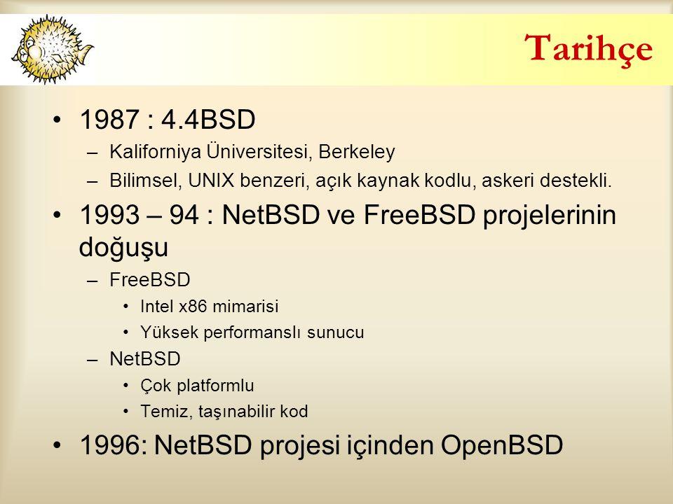 Tarihçe 1987 : 4.4BSD. Kaliforniya Üniversitesi, Berkeley. Bilimsel, UNIX benzeri, açık kaynak kodlu, askeri destekli.