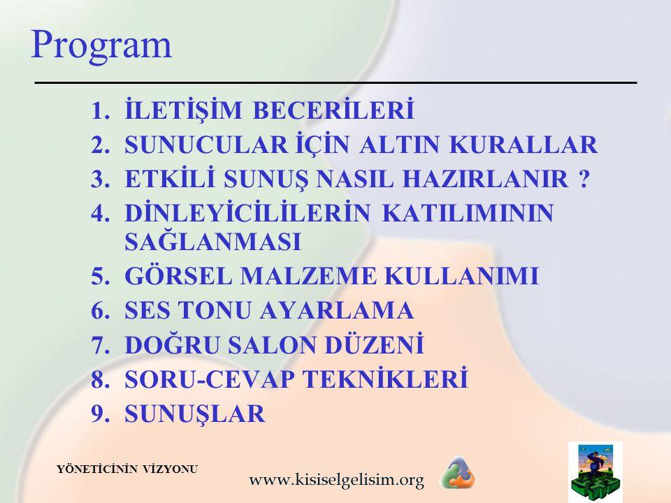 Program İLETİŞİM BECERİLERİ SUNUCULAR İÇİN ALTIN KURALLAR