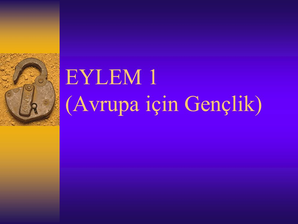 EYLEM 1 (Avrupa için Gençlik)
