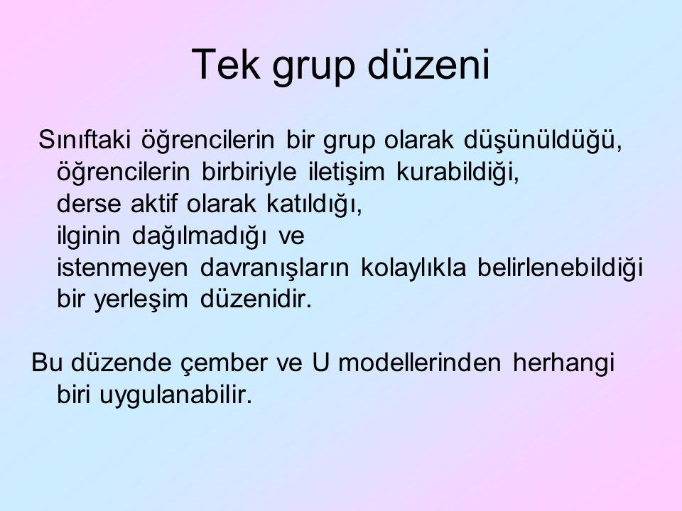 Tek grup düzeni Sınıftaki öğrencilerin bir grup olarak düşünüldüğü, öğrencilerin birbiriyle iletişim kurabildiği,