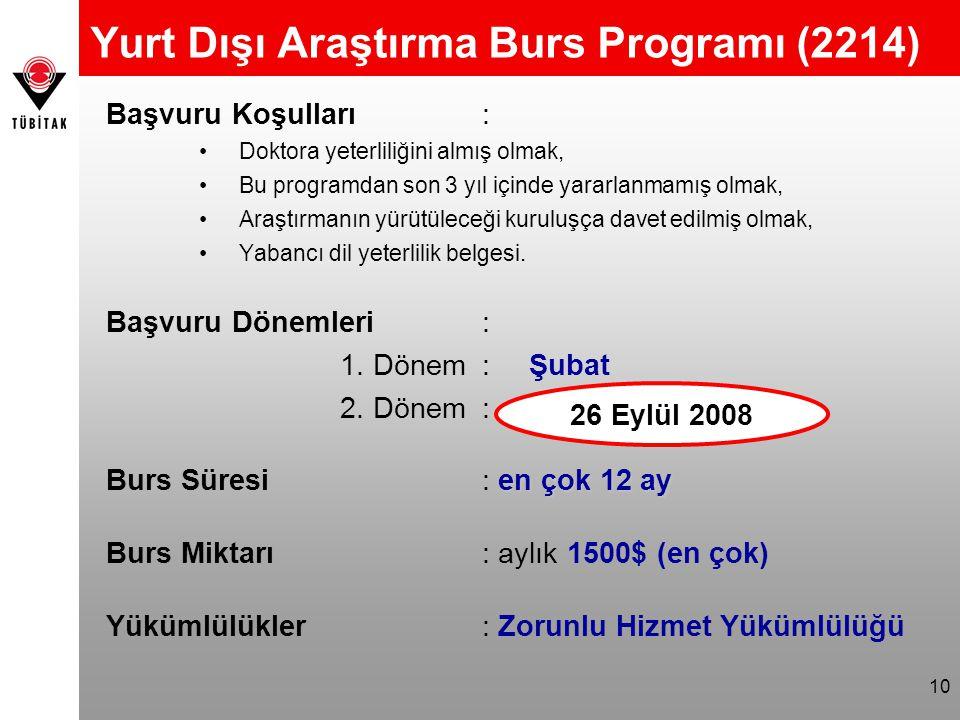 Yurt Dışı Araştırma Burs Programı (2214)